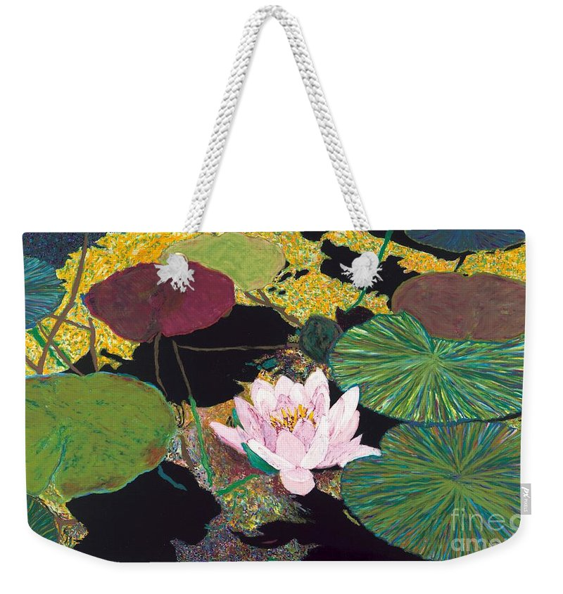 Landscape Weekender Tote Bag featuring the painting Steamy Pond by Allan P Friedlander