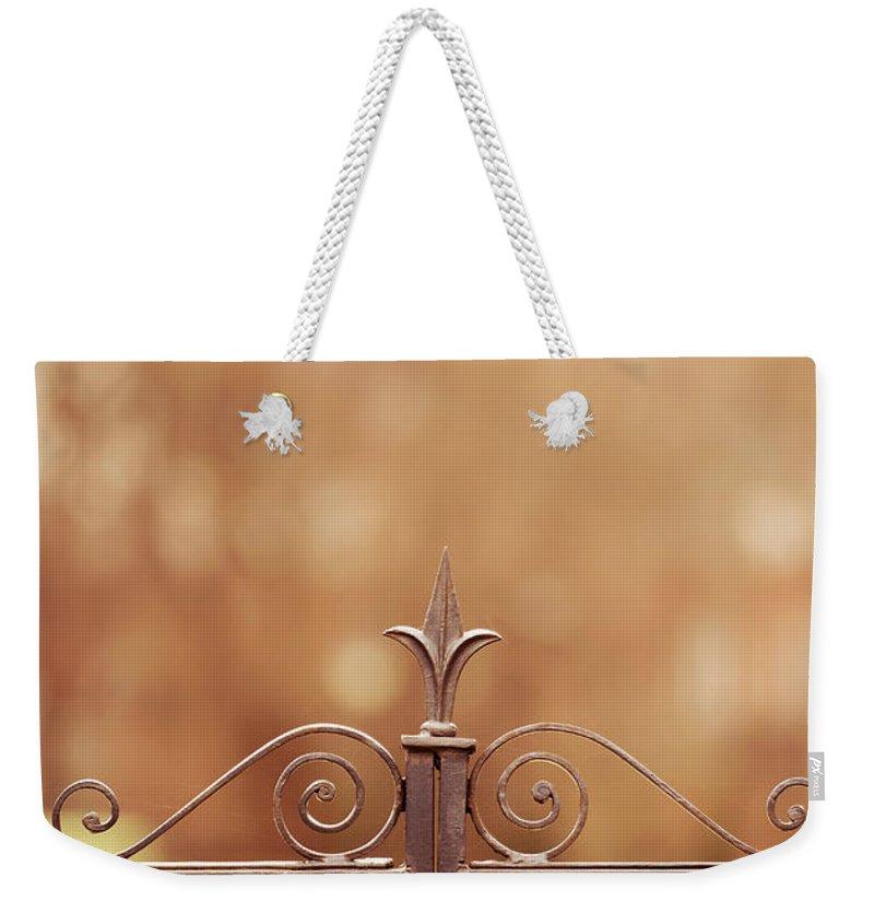 Blaminsky Weekender Tote Bag featuring the photograph Steel Ornamented Fence by Jaroslaw Blaminsky