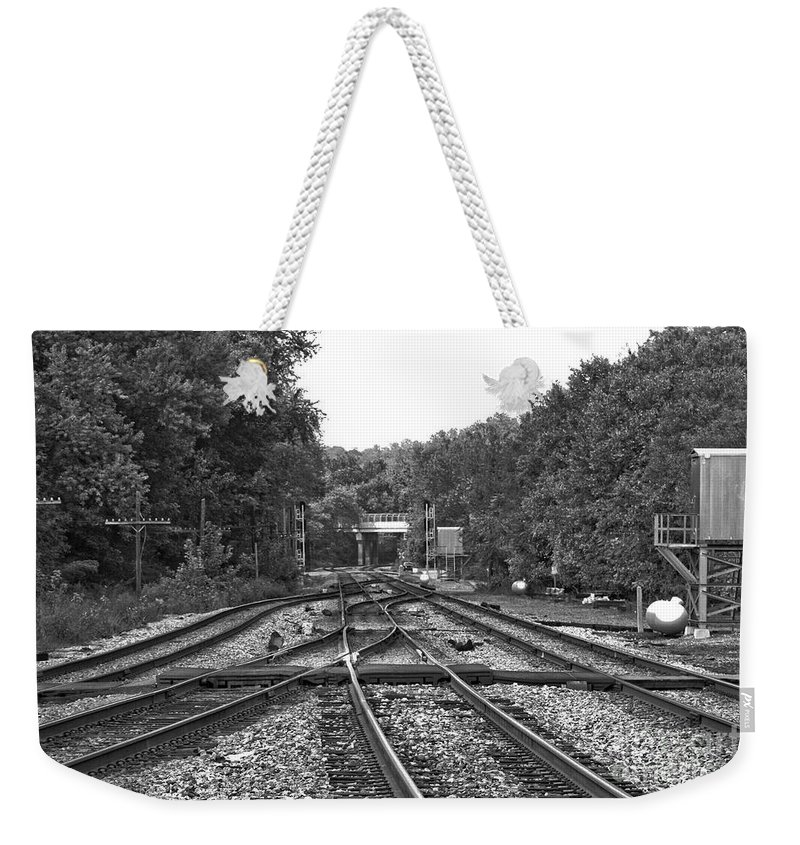 Railroad Weekender Tote Bag featuring the photograph Steel Rail Intersections.  Point Of Rocks Md by Thomas Marchessault