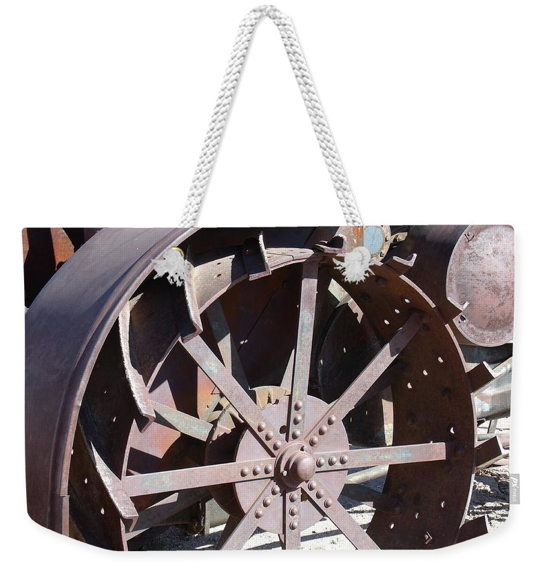 David S Reynolds Weekender Tote Bag featuring the photograph Steel Tractor by David S Reynolds