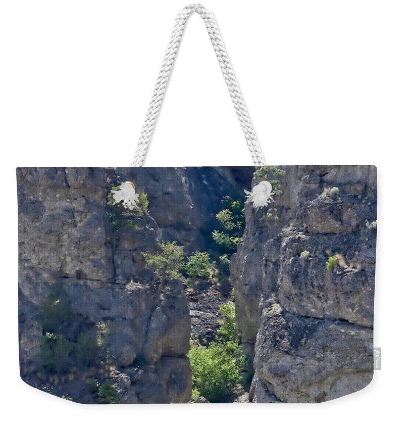 Railroad Tracks Weekender Tote Bag featuring the photograph Steep Cliffs With Railroad Track Art Prints by Valerie Garner
