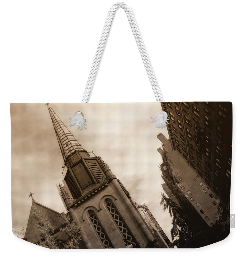 New York Weekender Tote Bag featuring the photograph Steeple Chase by Donna Blackhall