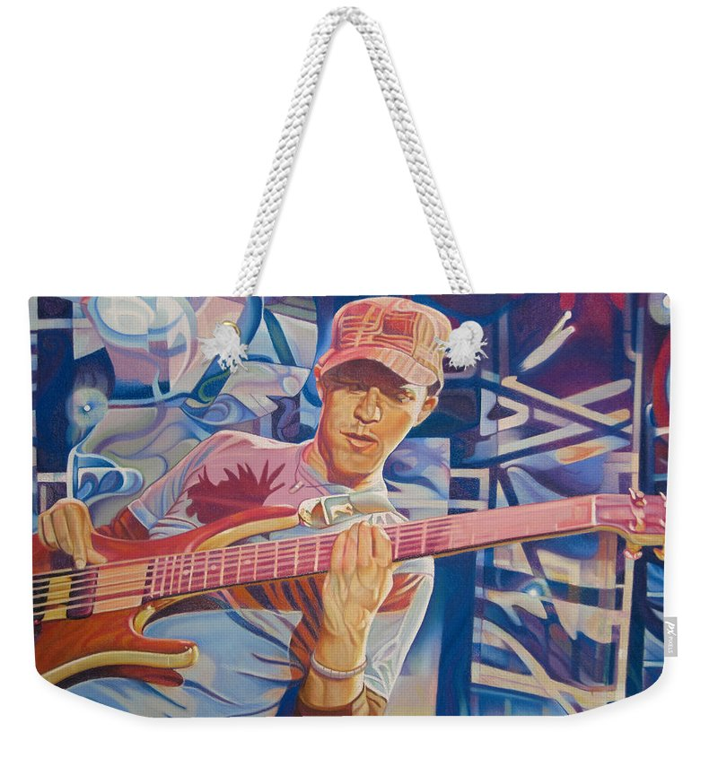 Syefan Lessard Weekender Tote Bag featuring the drawing Stefan Lessard And 2006 Lights by Joshua Morton