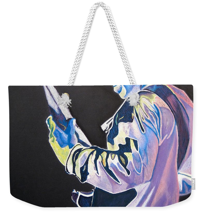 Stefan Lessard Weekender Tote Bag featuring the drawing Stefan Lessard Colorful Full Band Series by Joshua Morton