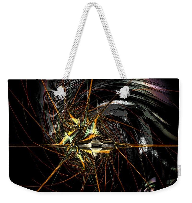 Digital Art Weekender Tote Bag featuring the digital art Stellar Spikes by Kiki Art