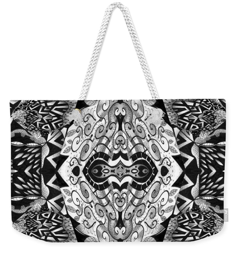 Abstract Weekender Tote Bag featuring the digital art Stepping Into The Unknown - A Sometimes A Mystery Compilation by Helena Tiainen
