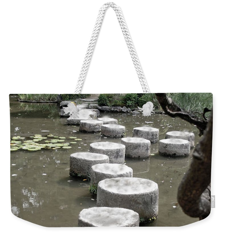 Kyoto Weekender Tote Bag featuring the photograph Stepping Stone Kyoto Japan by Thomas Marchessault
