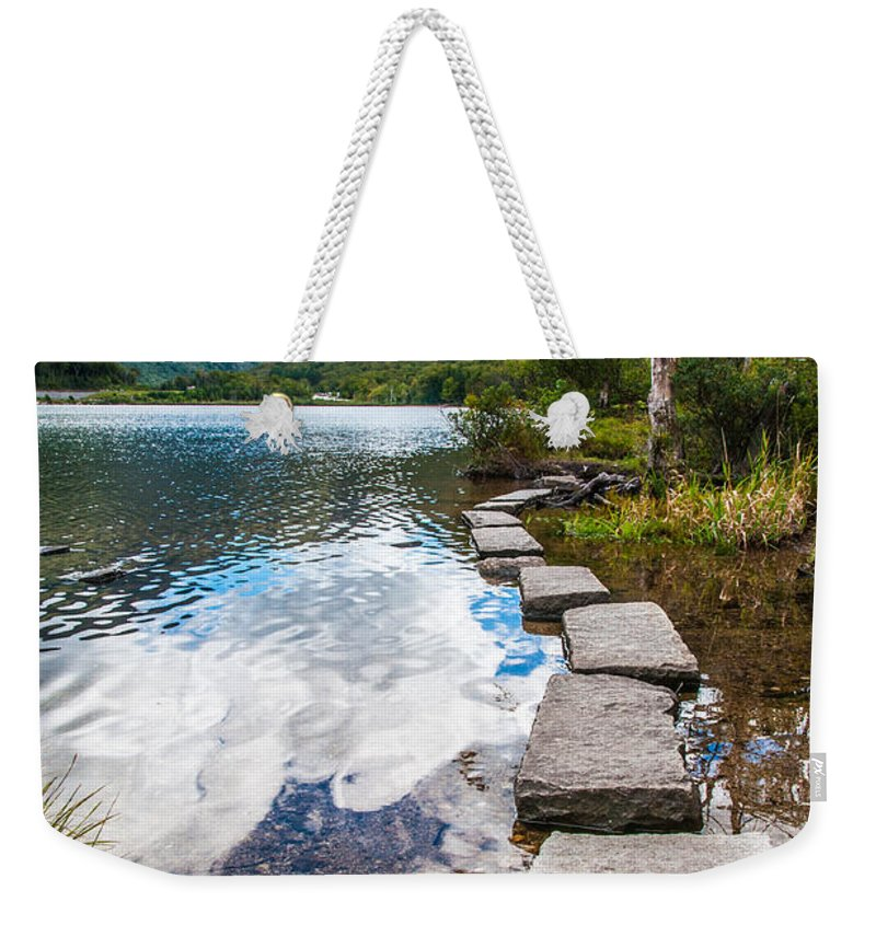 New Hampshire Weekender Tote Bag featuring the photograph Stepping Stones by Kristopher Schoenleber