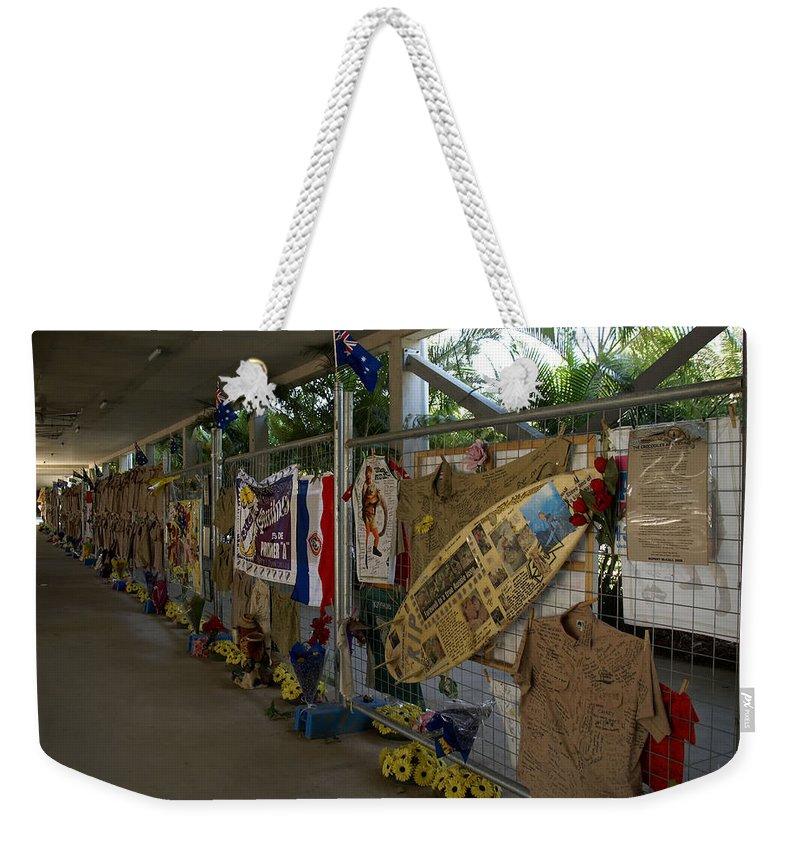 Australia Queensland Qld Weekender Tote Bag featuring the digital art Steve Irwin Memorial by Carol Ailles