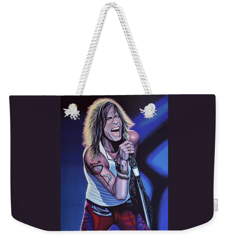Steven Tyler Weekender Tote Bag featuring the painting Steven Tyler 3 by Paul Meijering