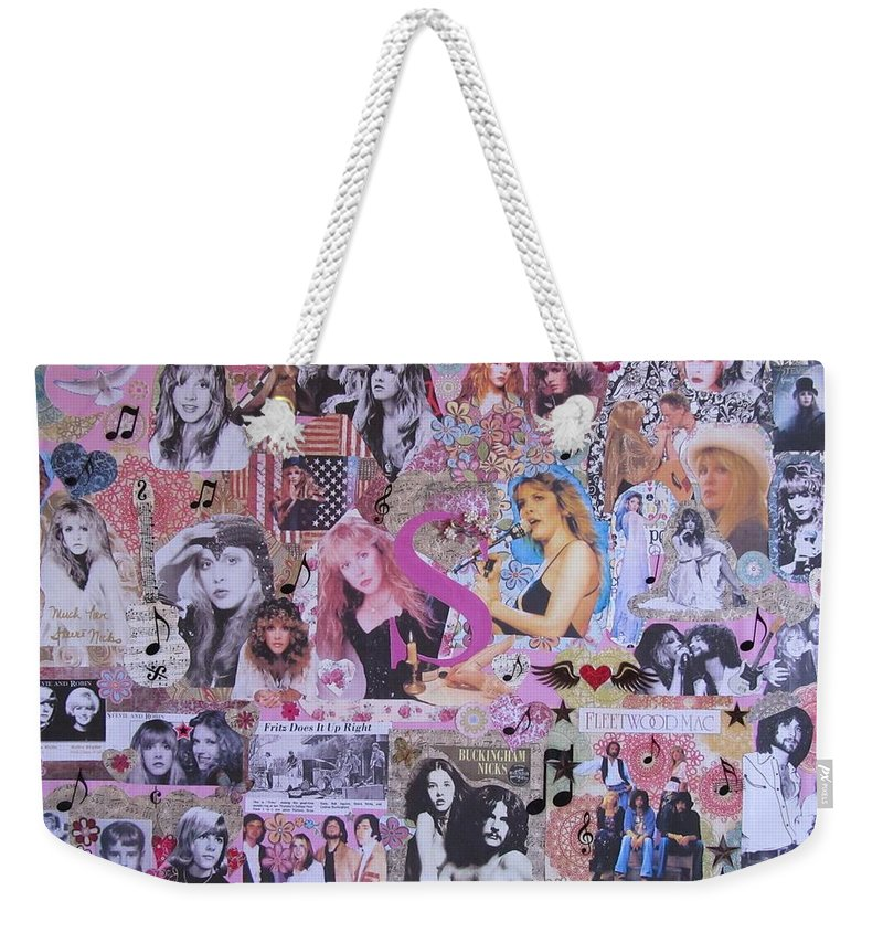 Stevie Nicks Weekender Tote Bag featuring the photograph Stevie Nicks Art Collage by Donna Wilson