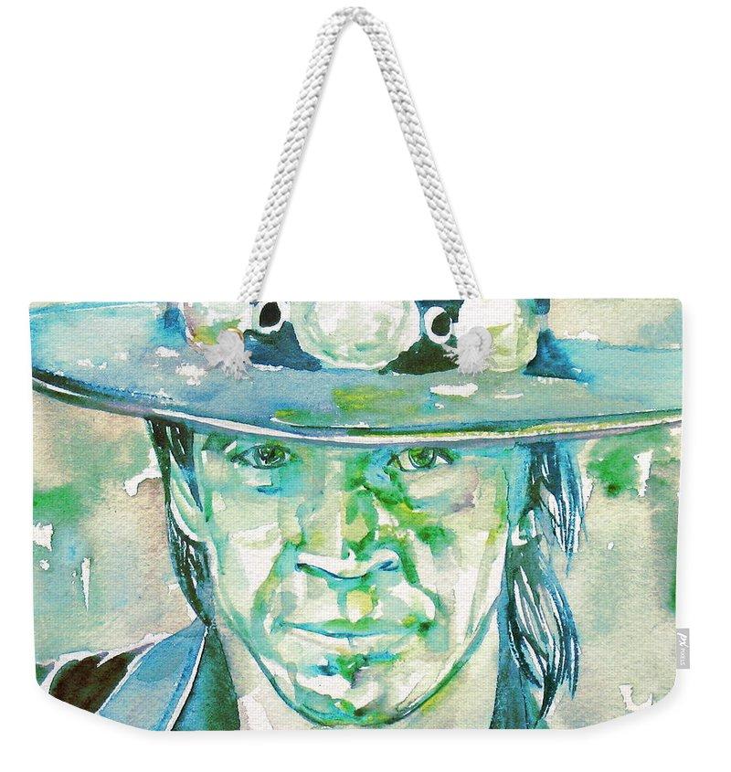 Stevie Ray Vaughan Weekender Tote Bag featuring the painting Stevie Ray Vaughan- Watercolor Portrait by Fabrizio Cassetta