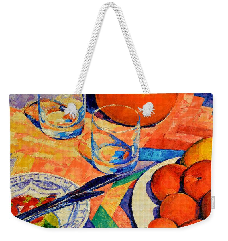 Still Life Weekender Tote Bag featuring the painting Still Life 1 by Iliyan Bozhanov