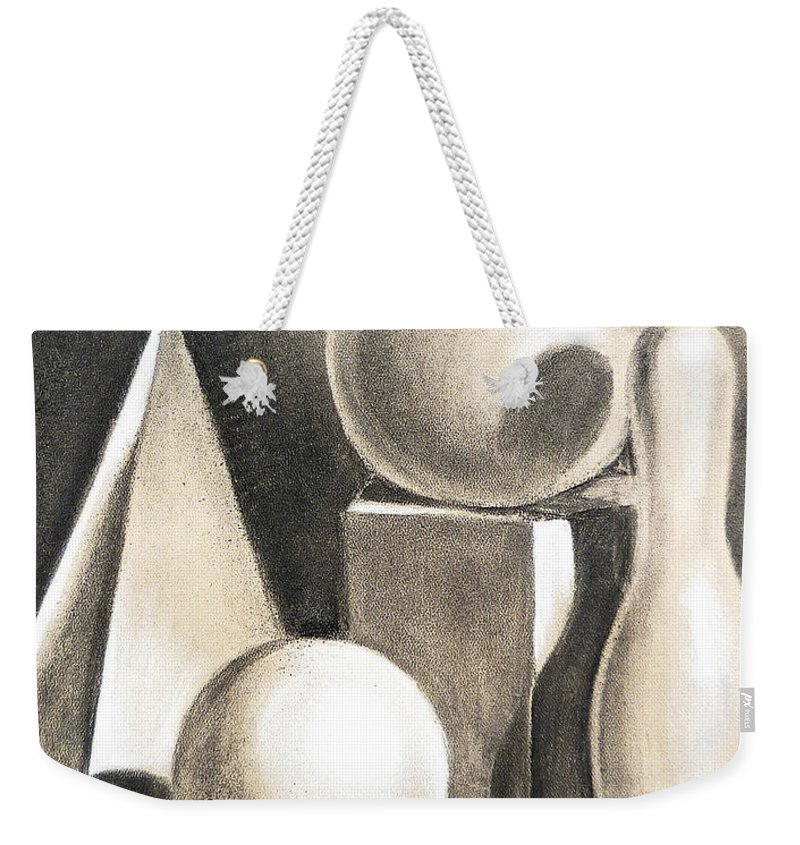 Still Weekender Tote Bag featuring the drawing Still Life Study Of Forms by Irina Sztukowski