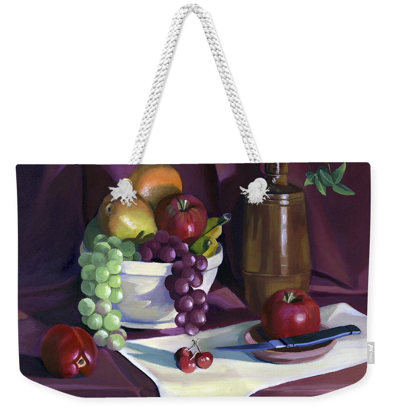 Fine Art Weekender Tote Bag featuring the painting Still Life With Apples by Nancy Griswold