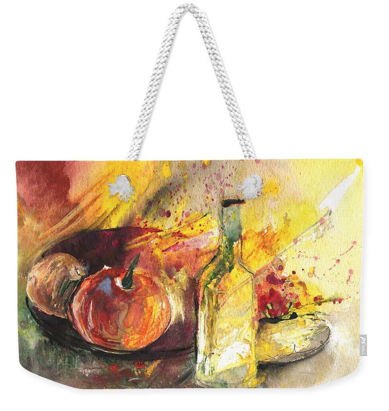 Still Life Weekender Tote Bag featuring the painting Still Life With Fruits And Flowers And Bottle by Miki De Goodaboom