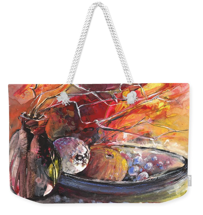 Still Life Weekender Tote Bag featuring the painting Still Life With Fruits And Vase And Dry Branches by Miki De Goodaboom