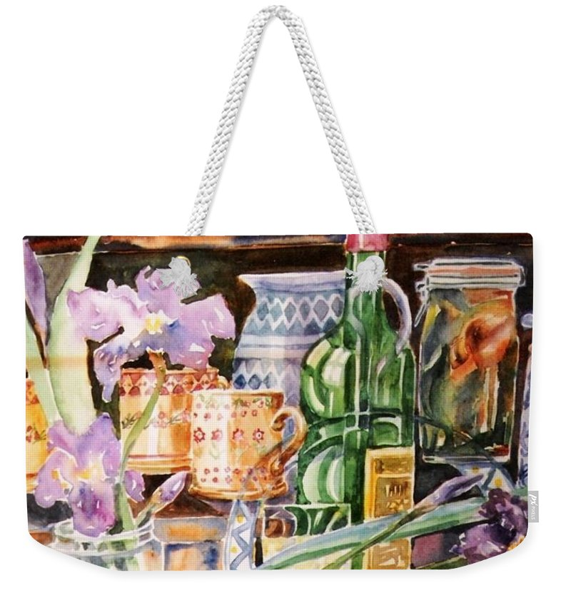 Still Life Weekender Tote Bag featuring the painting Still Life With Irises by Trudi Doyle