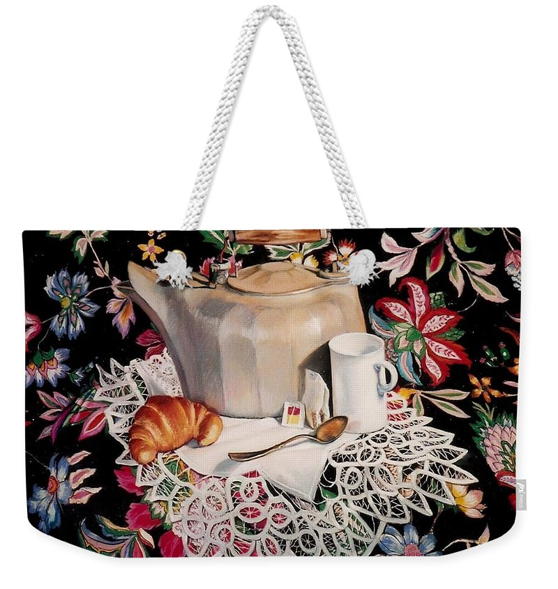 Stillife Weekender Tote Bag featuring the pastel Still Life With Lace by Constance Drescher