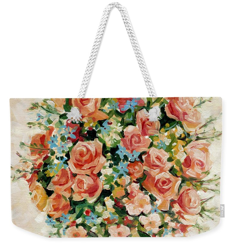 Flowers Weekender Tote Bag featuring the painting Still Life With Roses by Iliyan Bozhanov