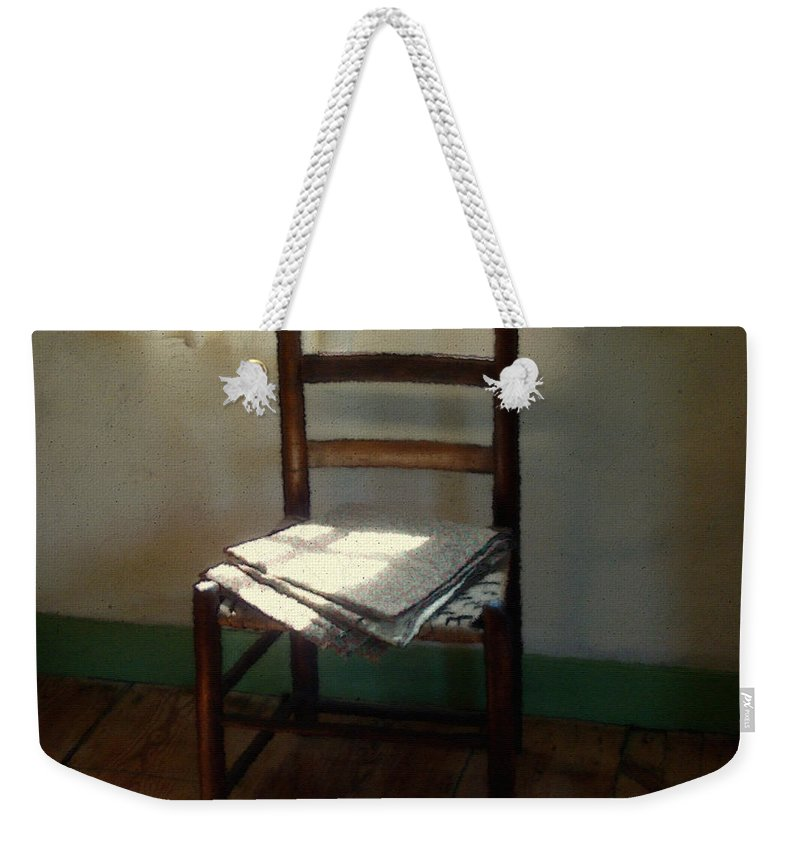 Chair Weekender Tote Bag featuring the painting Still Life With Straight Chair by RC deWinter