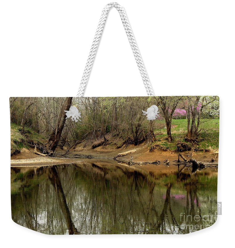 Water Weekender Tote Bag featuring the photograph Still Waters by Douglas Stucky