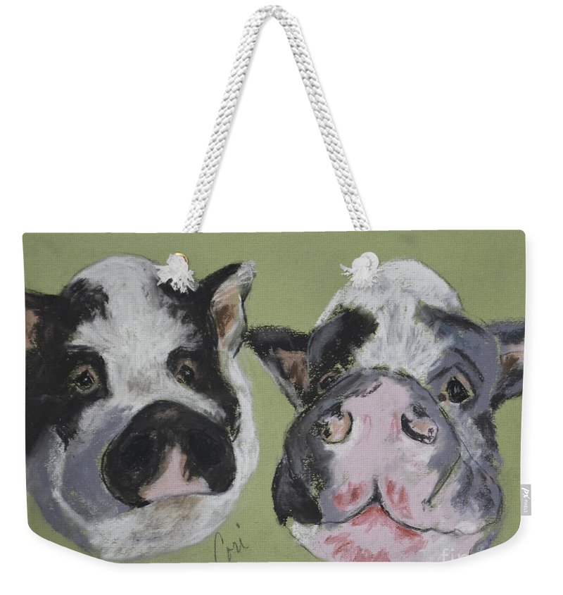 Pot Bellied Pigs Weekender Tote Bag featuring the drawing Stirring The Pot by Cori Solomon