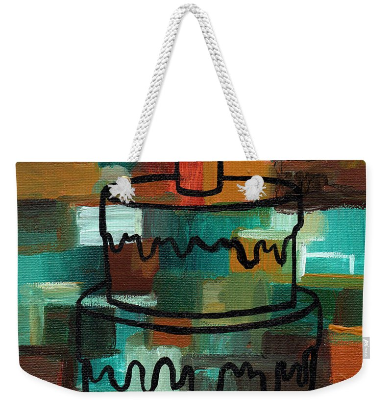 Stl250 Birthday Cake Earth Tones Abstract Weekender Tote Bag For
