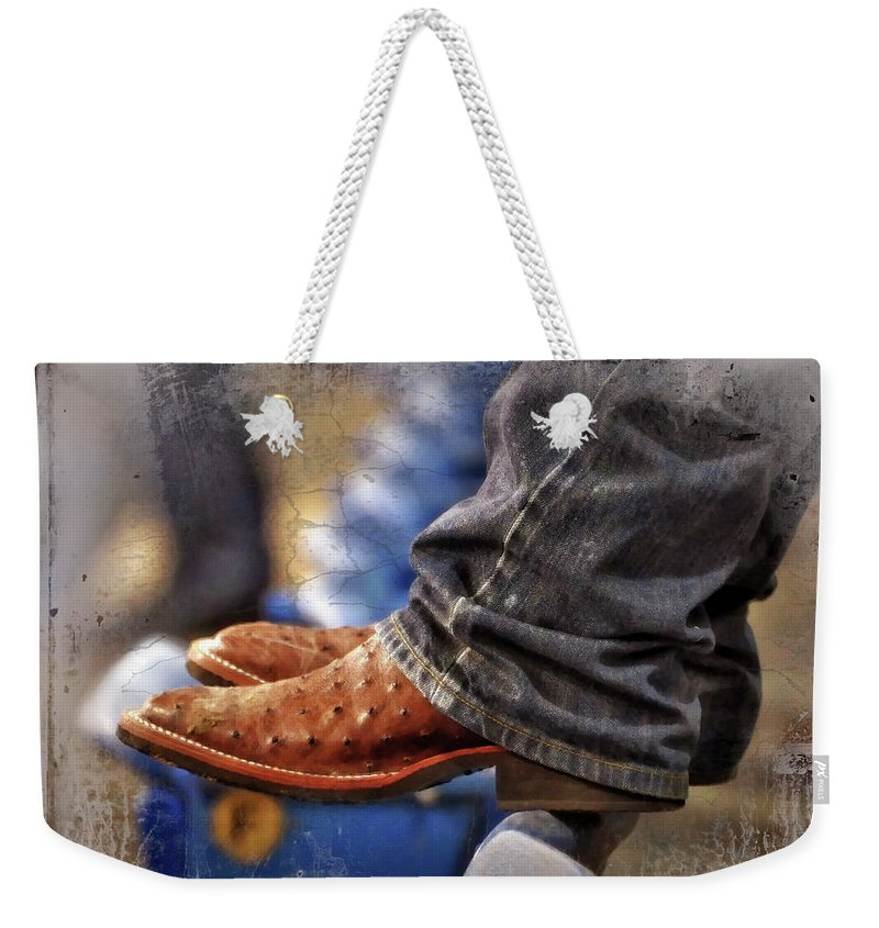 Adult Weekender Tote Bag featuring the photograph Stockshow Boots IIi by Joan Carroll