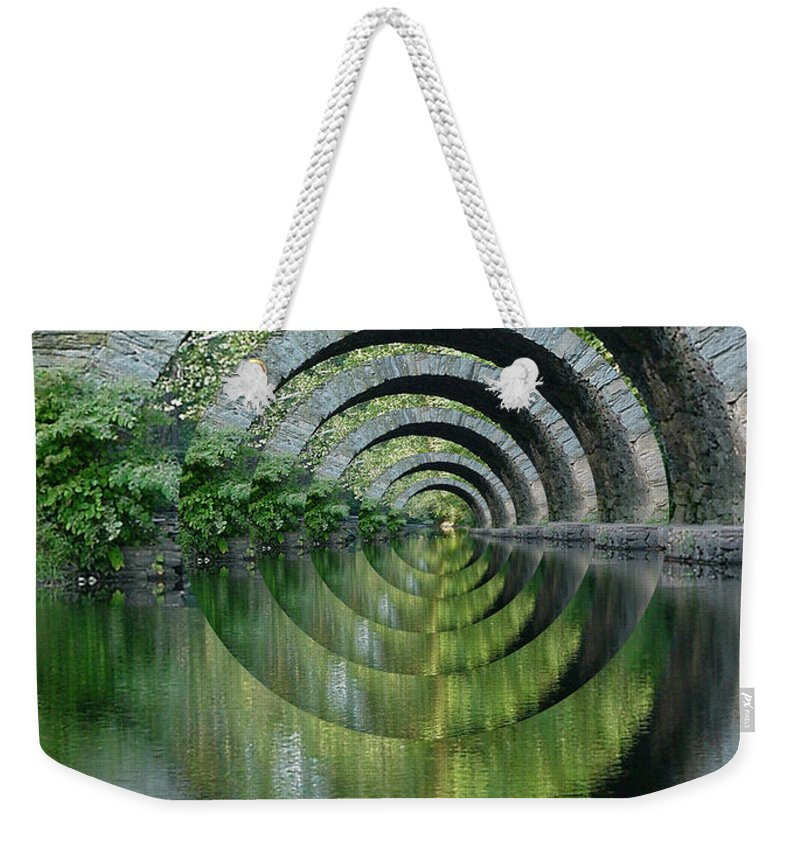Optical Illusion 1st Place Contest Winner Weekender Tote Bag featuring the photograph Stone Arch Bridge Over Troubled Waters - 1st Place Winner Faa Optical Illusions 2-26-2012 by Ericamaxine Price