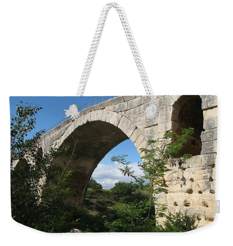 Roman Stonebridge Weekender Tote Bag featuring the photograph Stone Arch Of Pont St. Julien by Christiane Schulze Art And Photography