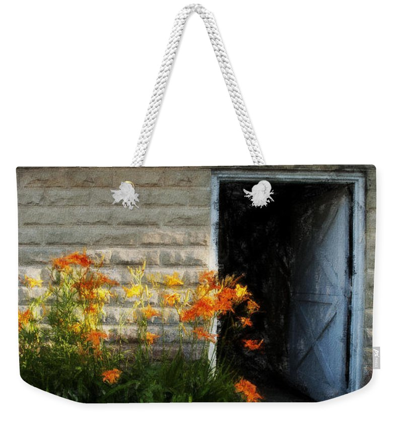 Flowers Weekender Tote Bag featuring the photograph Stone Barn Acanthus by David Lange