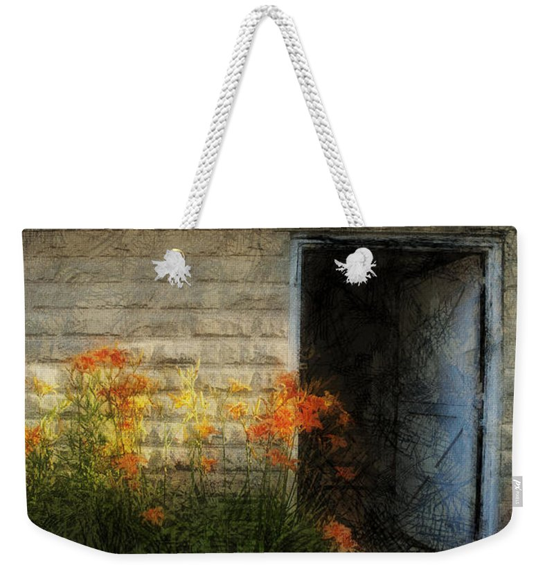 Flowers Weekender Tote Bag featuring the photograph Stone Barn Lux by David Lange