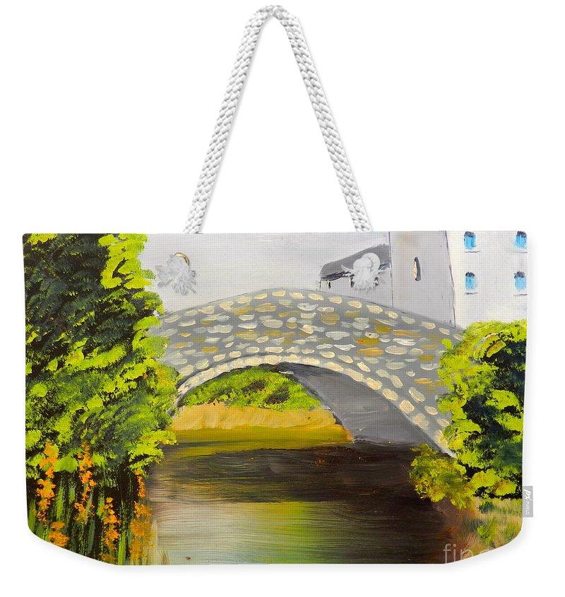 Impressionism Weekender Tote Bag featuring the painting Stone Bridge At Burrowford Uk by Pamela Meredith