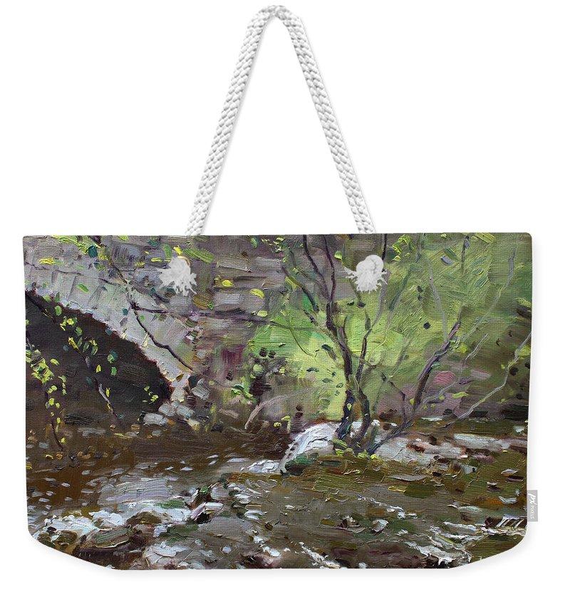 Stone Bridge Weekender Tote Bag featuring the painting Stone Bridge At Three Sisters Islands by Ylli Haruni