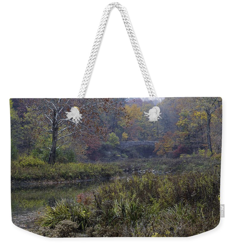 Michele Weekender Tote Bag featuring the photograph Stone Bridge In Autumn I by Michele Steffey