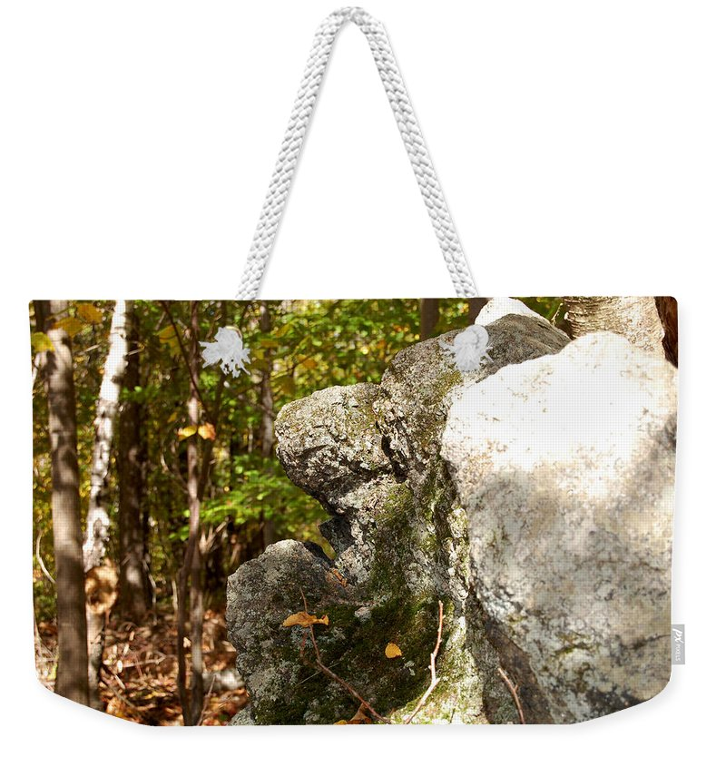 Dam Weekender Tote Bag featuring the photograph Stone Face by Mim White