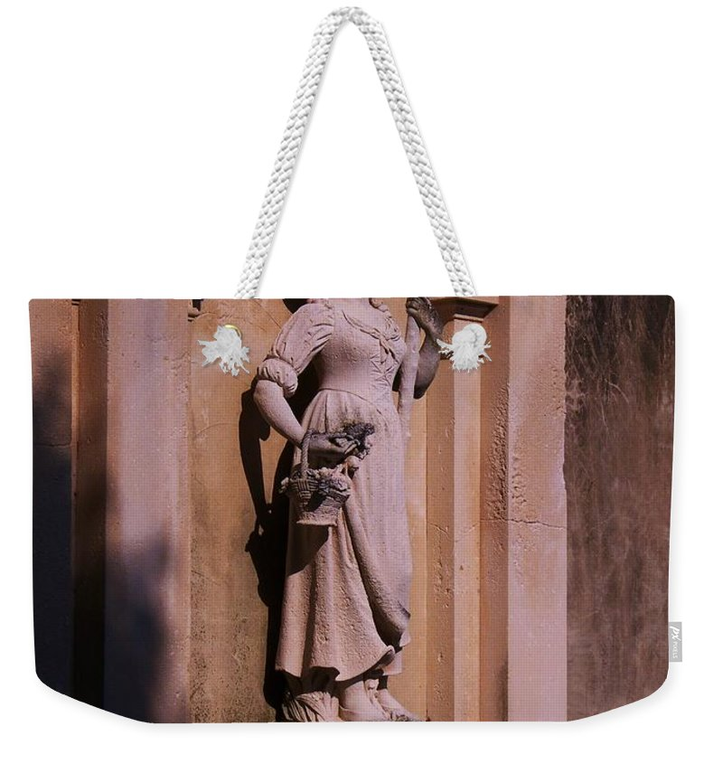 Garden Weekender Tote Bag featuring the photograph Stone Statue Woman by Eric Schiabor