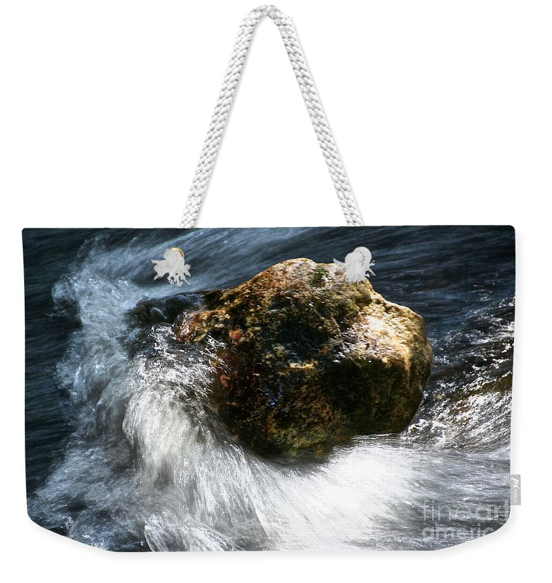 Water Weekender Tote Bag featuring the photograph Stone by Susan Herber