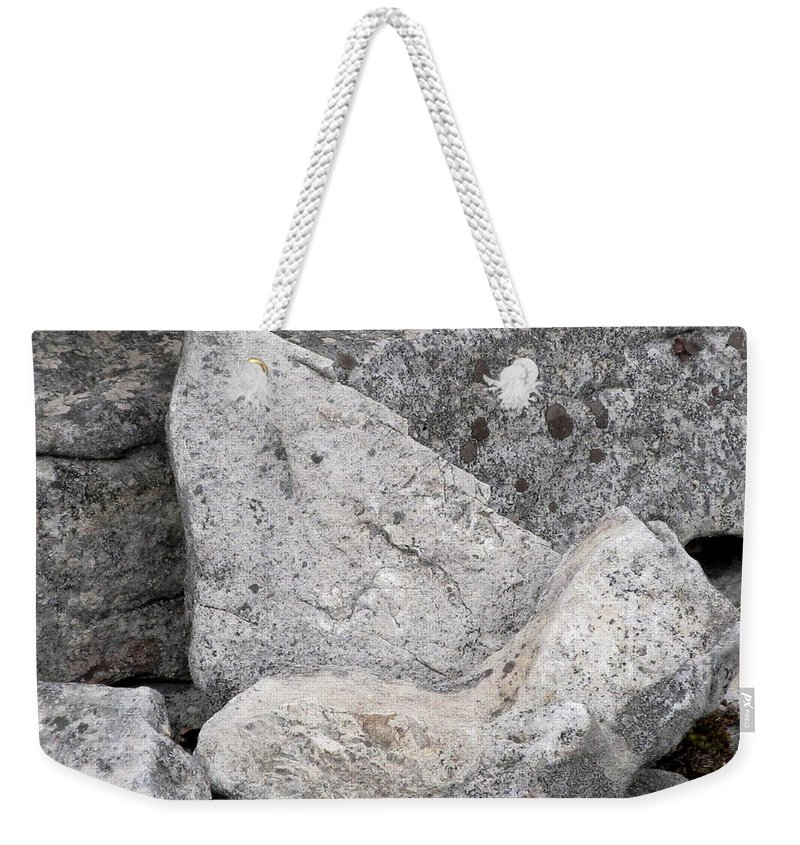 Stone Tooth Shark Tooth Stone Tooth Shaped Rock Geology Gray Rocks Gray Stones Appalachian Landscapes Stonescape Rockscape Natural Design In Nature Prints Strange Nature Fossil Imposter Weekender Tote Bag featuring the photograph Stone Tooth by Joshua Bales