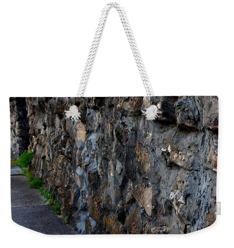 Wall Weekender Tote Bag featuring the photograph Stone Wall by Paul Wilford