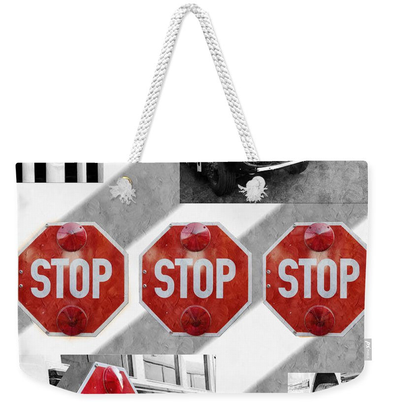 Bus Weekender Tote Bag featuring the photograph Stop For Students Painterly Bw Red Signs by Andee Design