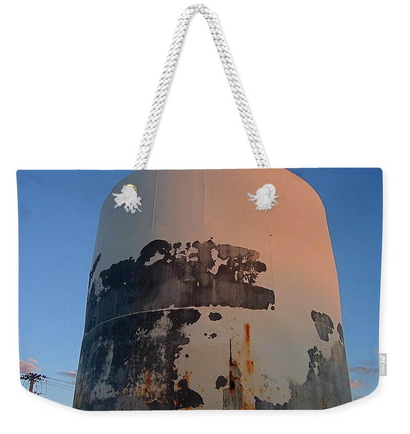 Rusting Storage Container Coolidge Arizona Moon Dusk Weekender Tote Bag featuring the photograph Storage Container Moon Coolidge Arizona 2004 by David Lee Guss
