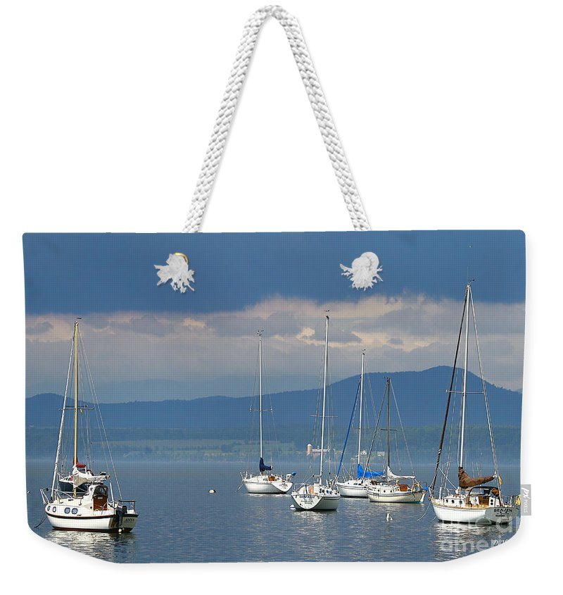 Lake Weekender Tote Bag featuring the photograph Storm A Brewing by Deborah Benoit