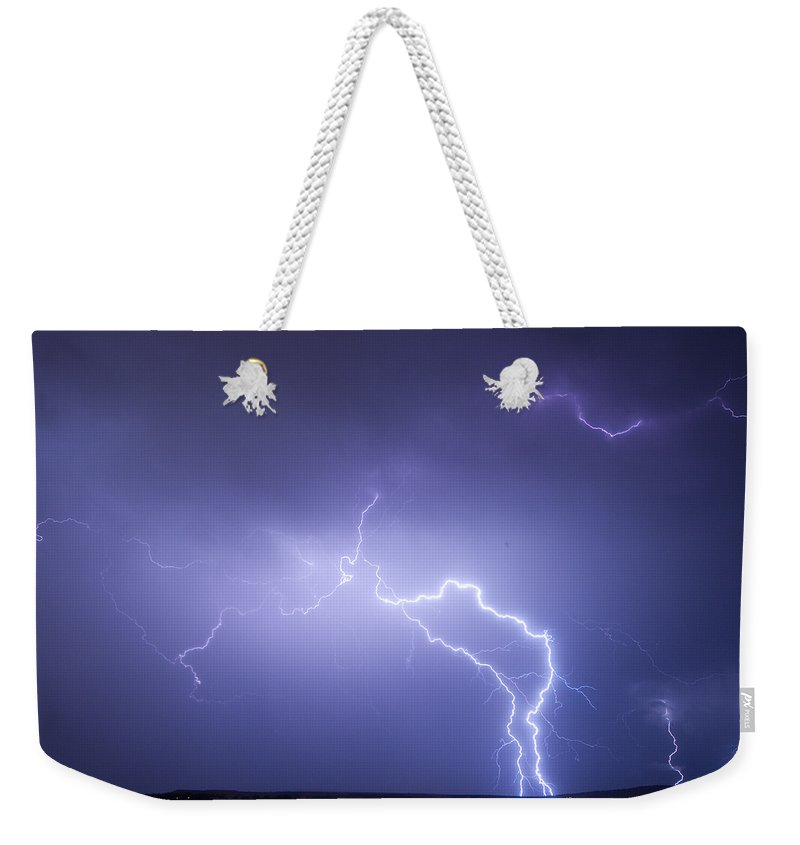 Lightning Weekender Tote Bag featuring the photograph Storm Chase Six Twenty Eight Thirteen by James BO Insogna