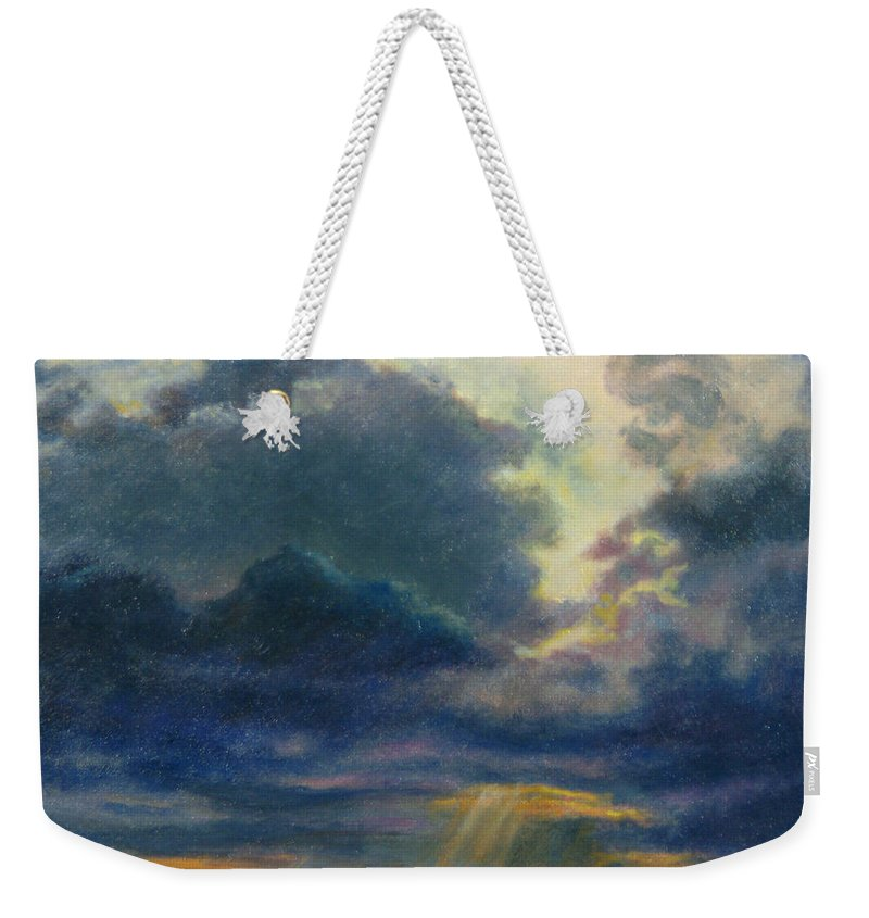 Landscape Weekender Tote Bag featuring the painting Storm Clouds Over P-town by Phyllis Tarlow