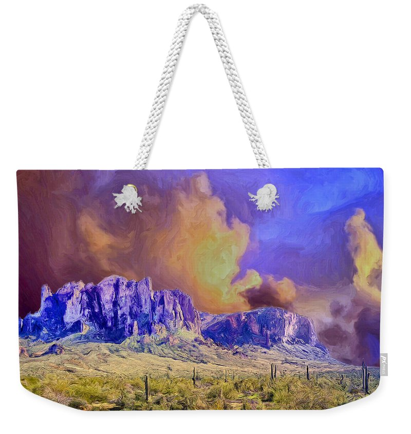 Storm Weekender Tote Bag featuring the painting Storm Over The Superstitions by Dominic Piperata