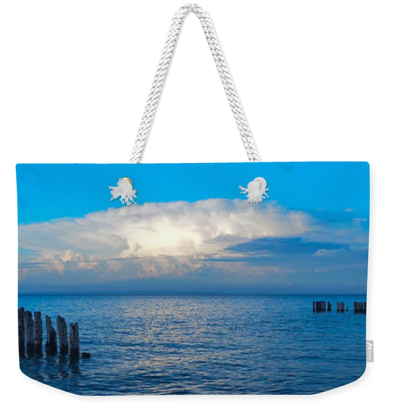 Upper Pennisula Weekender Tote Bag featuring the photograph Storm Over Whitefish Bay by Gales Of November