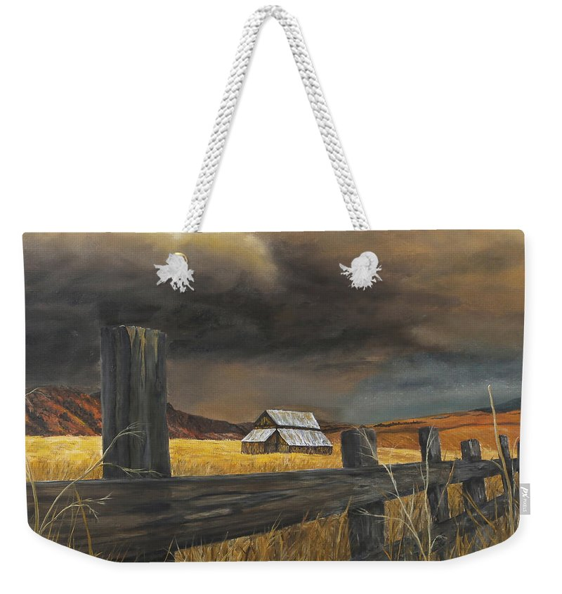 Nature Weekender Tote Bag featuring the painting Stormy Clouds by Johanna Lerwick