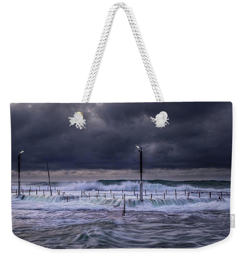 Panoramic Weekender Tote Bag featuring the photograph Stormy Ocean, Monavale Beach, Australia by Bert